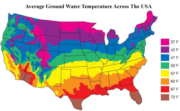 average groundwater temperatures in USA