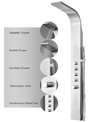 "Decor Star 004-SS 64"" Stainless Steel Rainfall Shower Panel review"