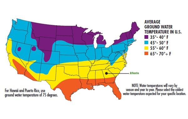 Water heater temperature map